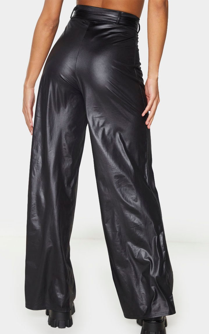 Black Faux Leather Belted Wide Leg Trousers 4