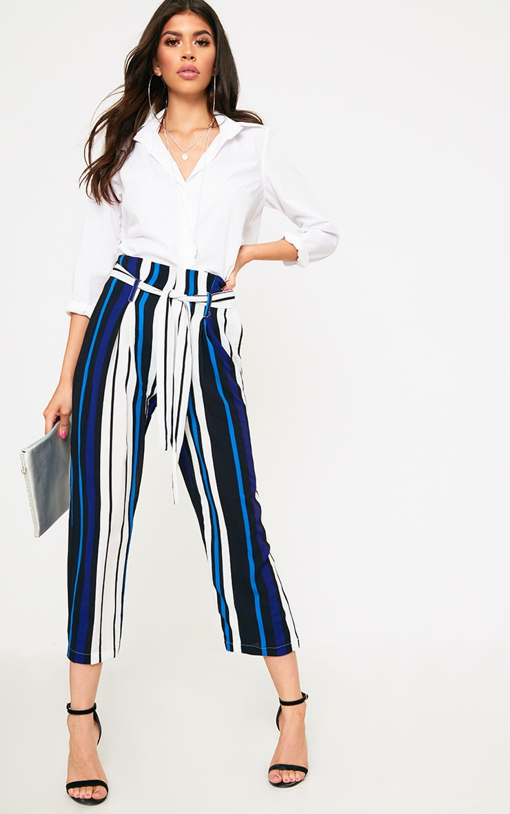 Blue Stripe Paperbag Wide Leg Trousers 1