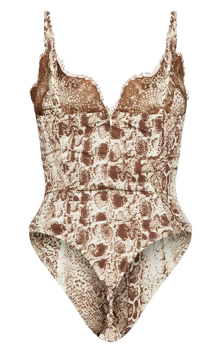Brown Snake Print Eyelash Lace Trim Bodysuit 4