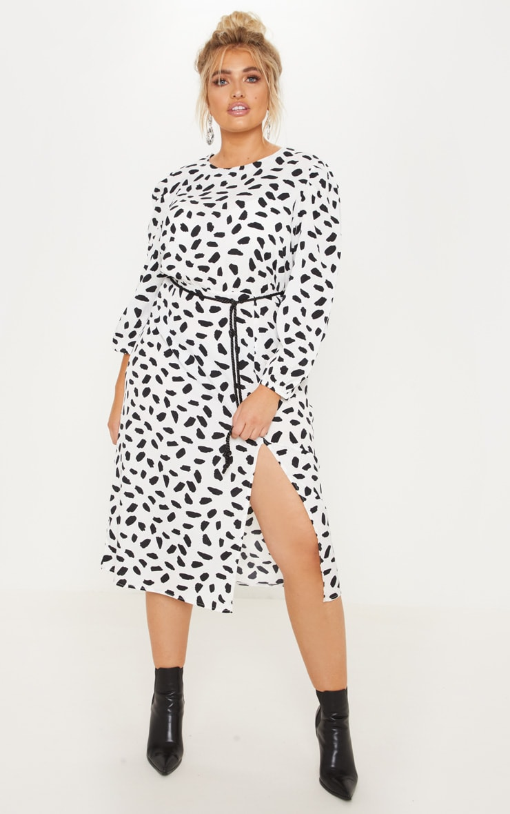 Plus White Tie Waist Dalmatian Print Midi Dress 4
