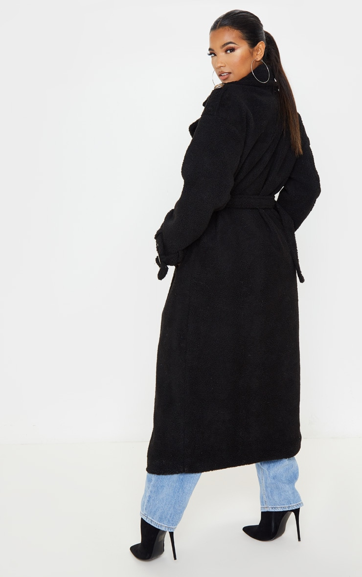 Black Borg Oversized Belted Coat 2