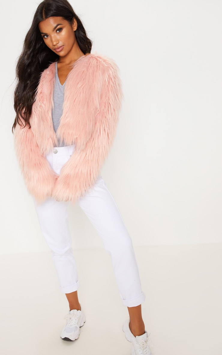 Pink Shaggy Faux Fur Jacket  4