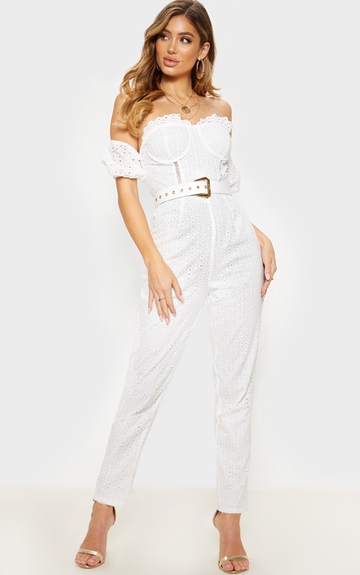 White Broderie Anglaise Bardot Jumpsuit 4