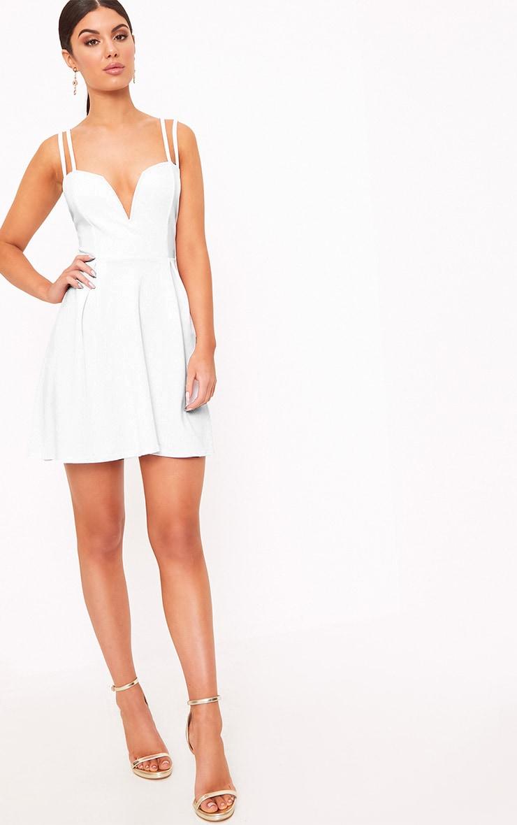 White V Plunge Double Strap Skater Dress 2