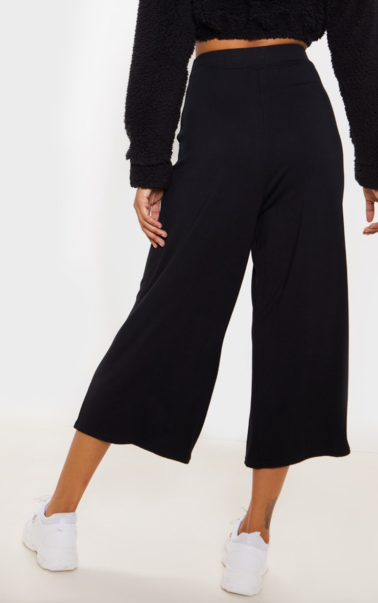 Black Jersey Pocket Detail Culotte 4