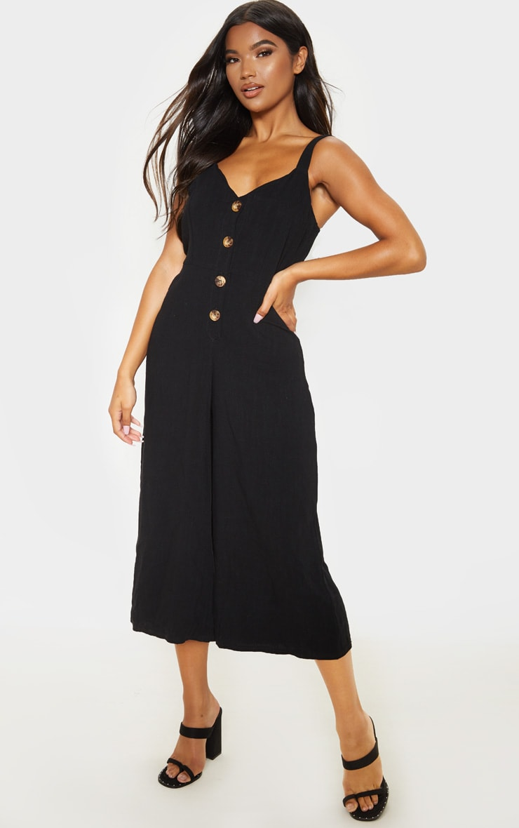 Black Woven Button Front Culotte Jumpsuit 1