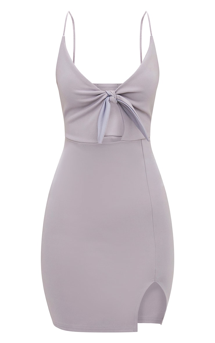 Ice Grey Tie Front Bodycon Dress 3