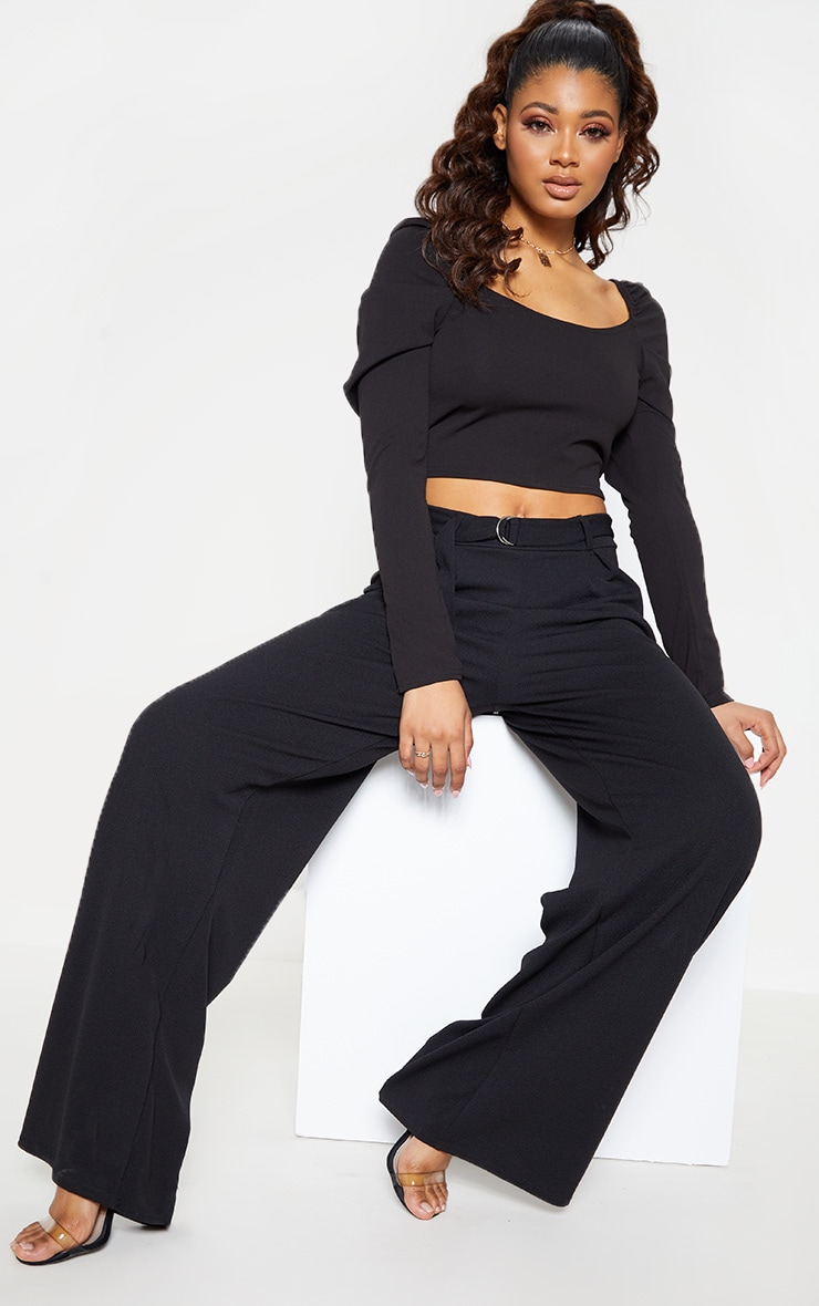 Tall Black Square Neck Long Sleeve Crop Top  4