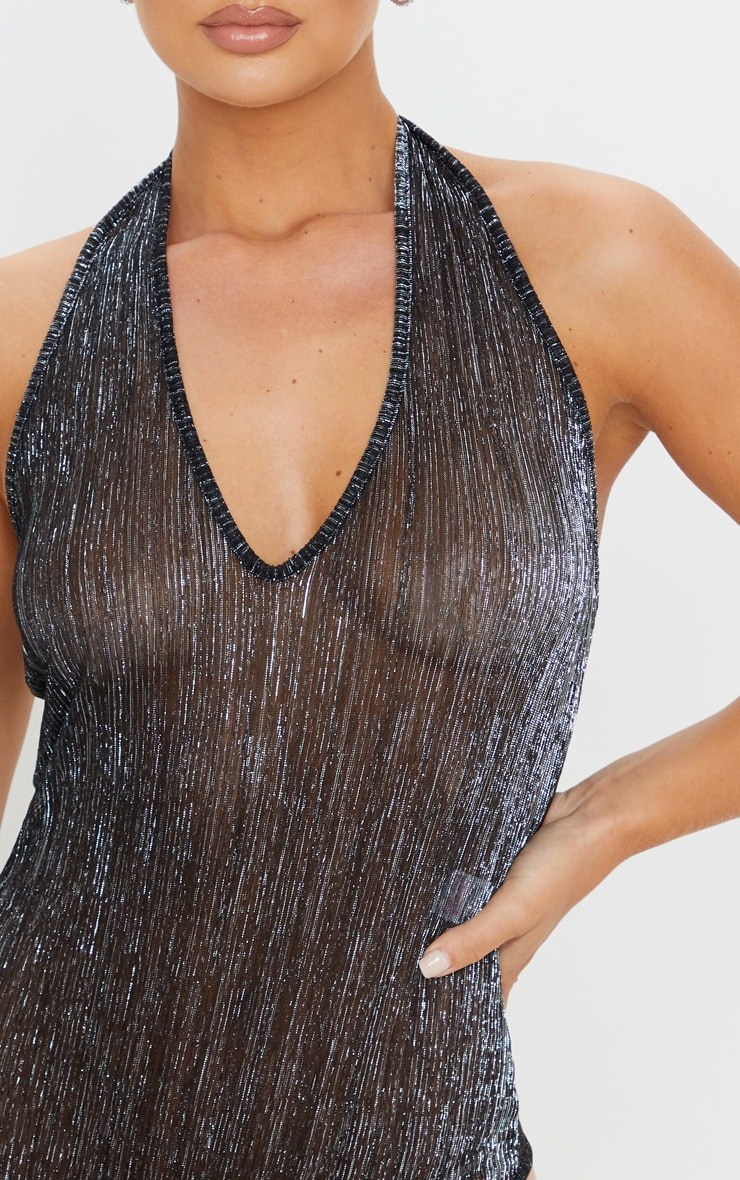 Silver Glitter Plisse Halterneck Bodysuit  4