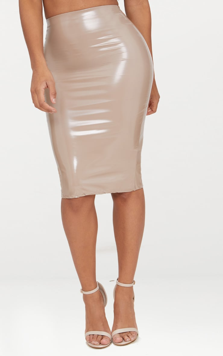 Shape Taupe PU Midi Skirt 2