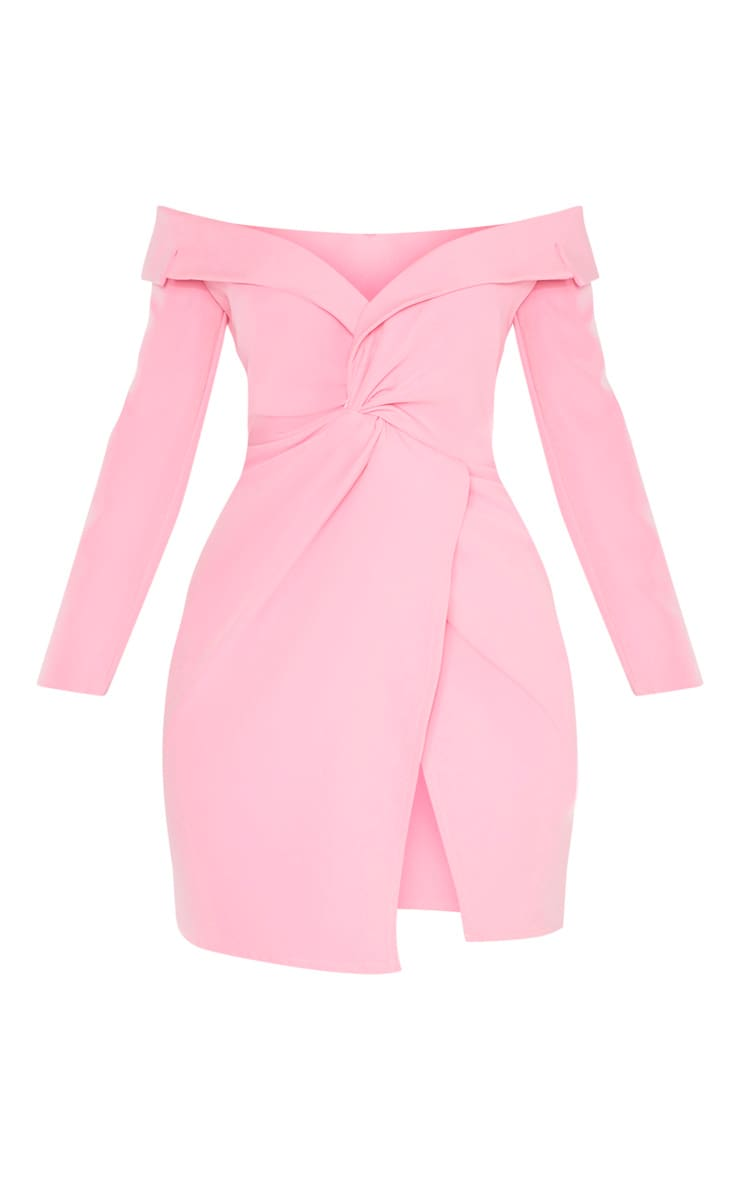 Pink Bardot Knot Detail Blazer Dress 3