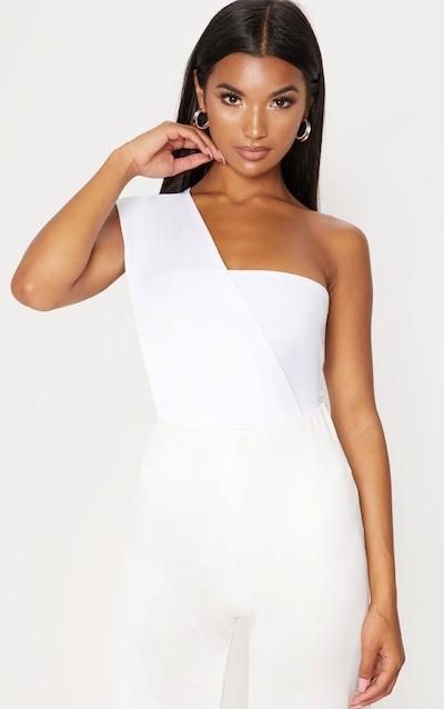 White One Shoulder Bodysuit 370188723