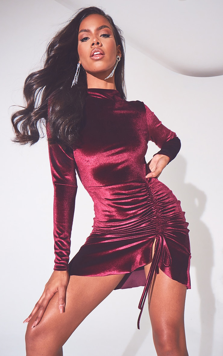 Burgundy Velvet Ruched High Neck Frill Hem Bodycon Dress 1