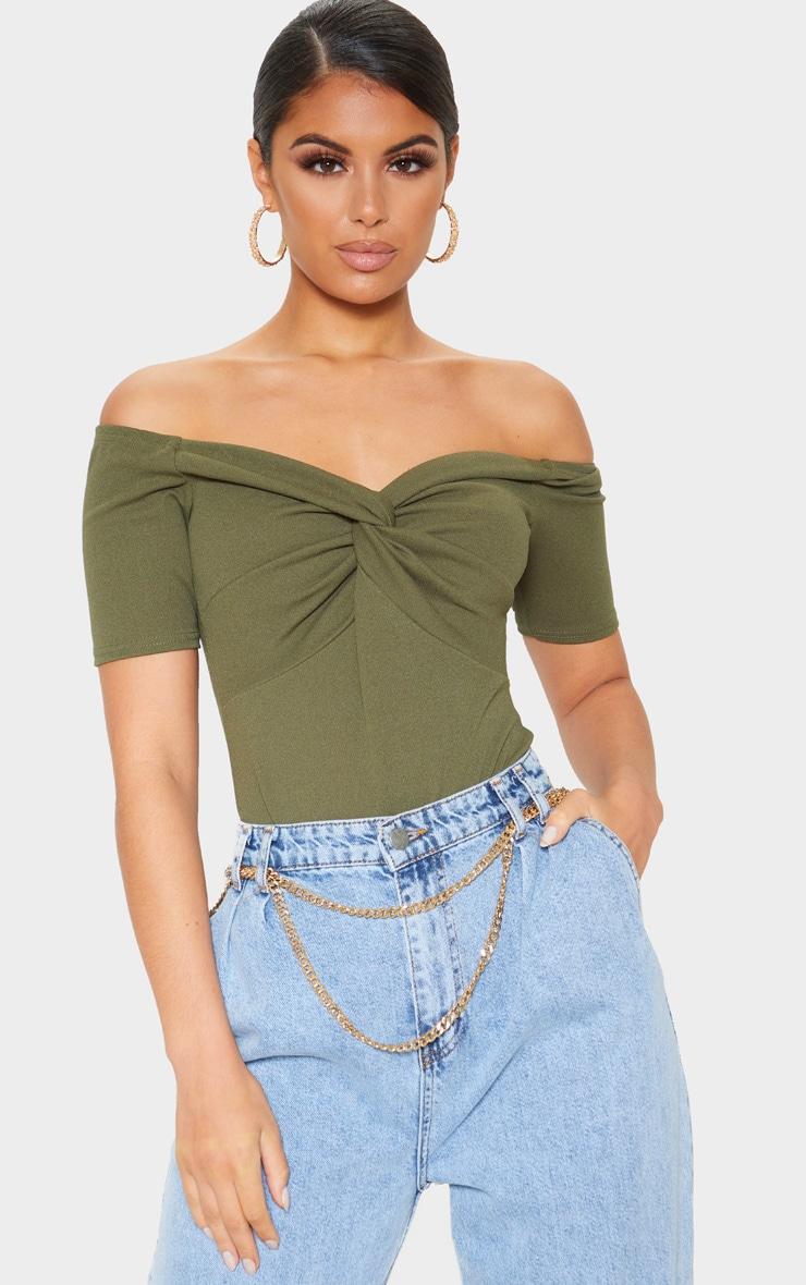 Khaki Bardot Twist Front Bodysuit 1