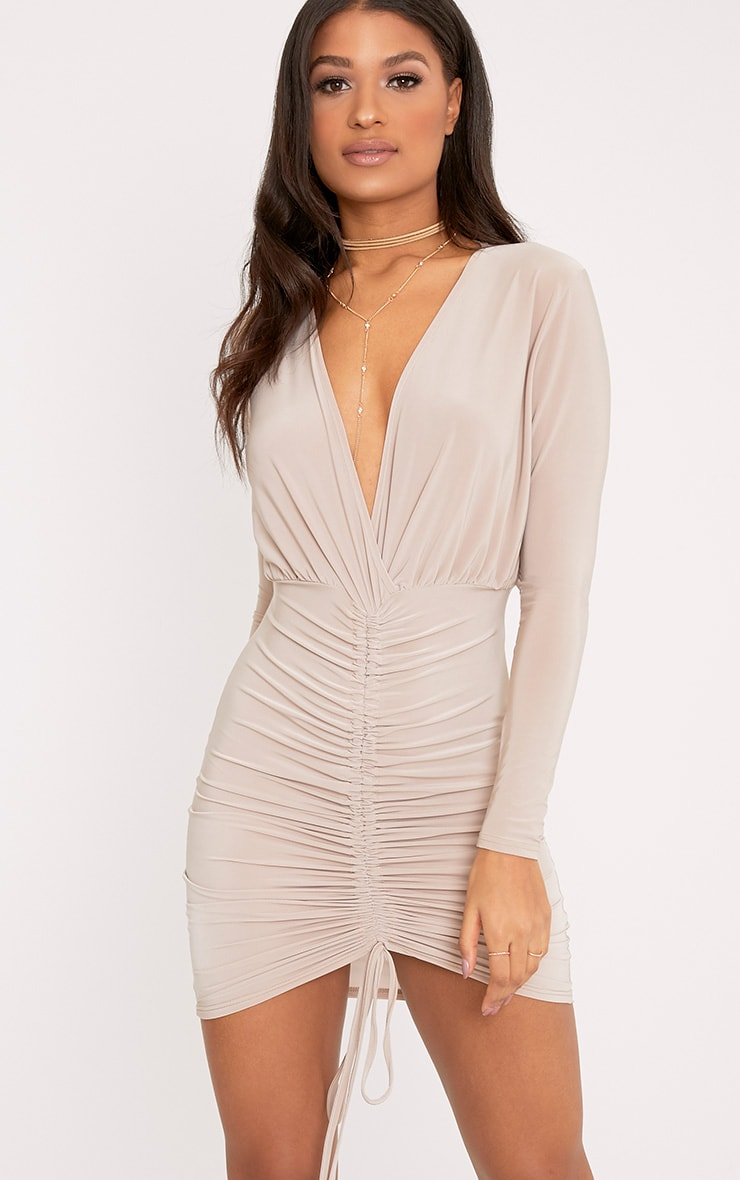 Oriana Nude Plunge Ruched Front Bodycon Dress 1