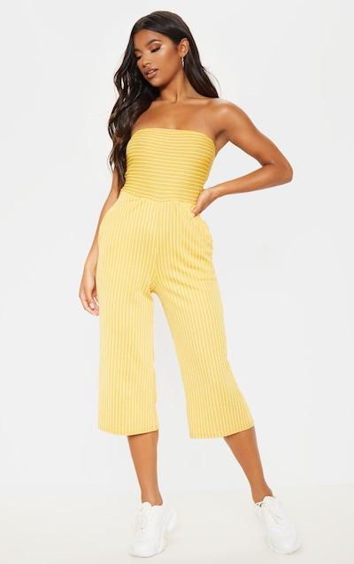 Mustard Pinstripe Bandeau Culotte Jumpsuit