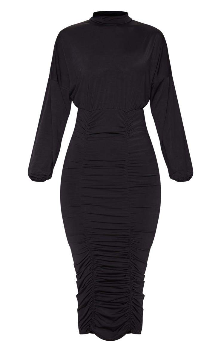 Black Slinky High Neck Long Sleeve Ruched Midi Dress 5