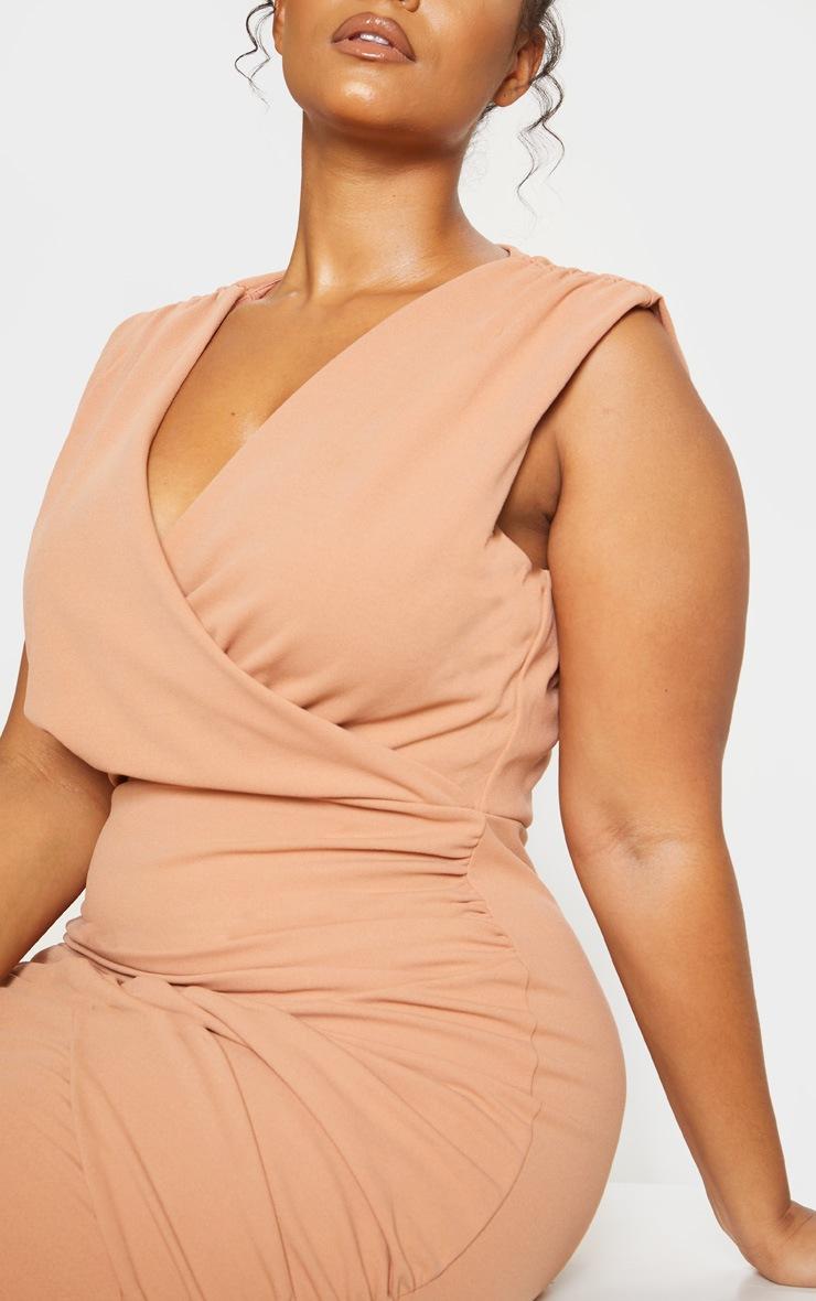 Nude Plunge Wrap Detail Midi Dress 6