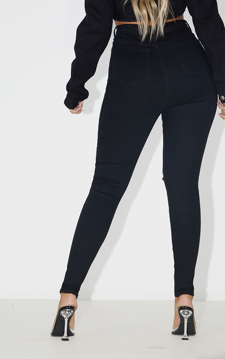 PRETTYLITTLETHING Black 5 Pocket Knee Rip Skinny Jean 4