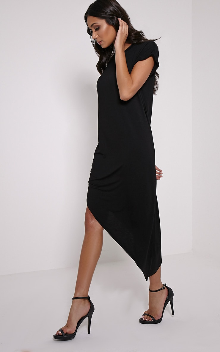 Nolah Black Asymmetric T-Shirt Dress 4