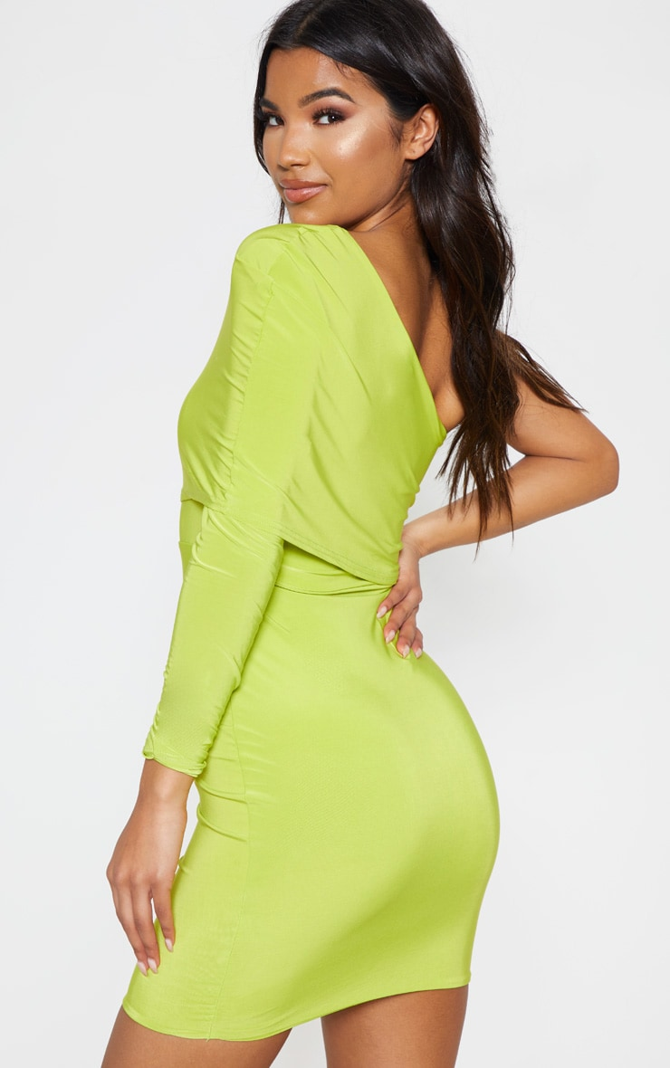 Lime Slinky One Shoulder Cape Detail Bodycon Dress 2