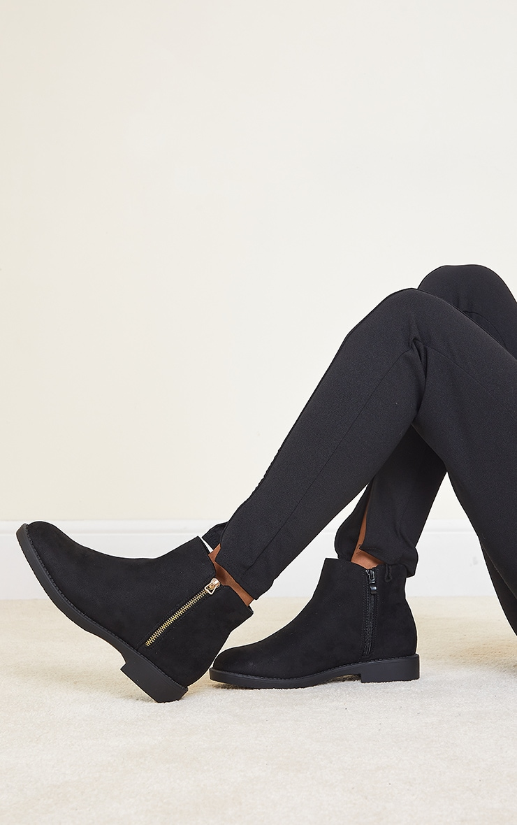 Black Faux Suede Basic Ankle Boots 1