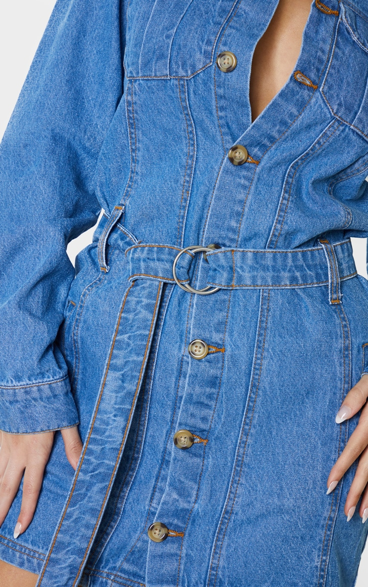 Tall Blue Washed Belted Denim Shirt Dress 5