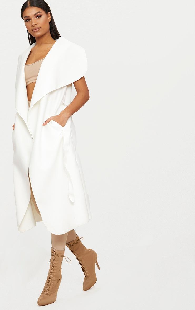 White Sleeveless Waterfall Coat Belted Coat 4