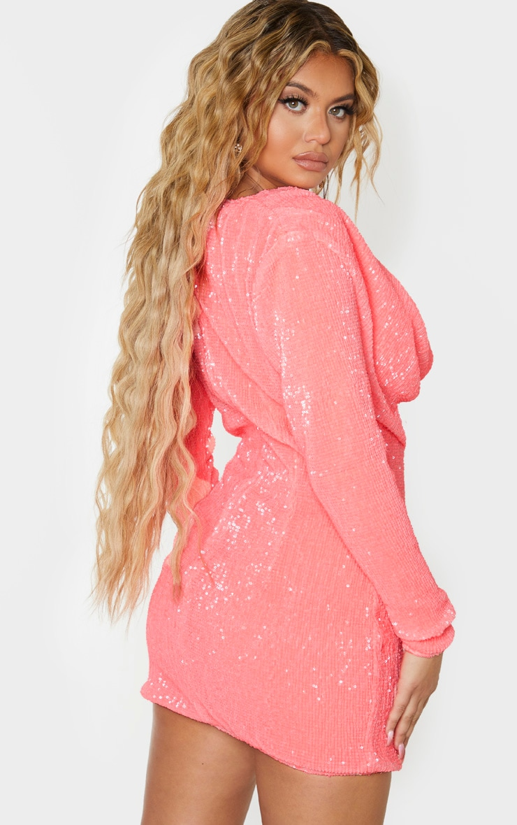 Neon Pink Sequin Long Sleeve Cowl Neck Bodycon Dress 2