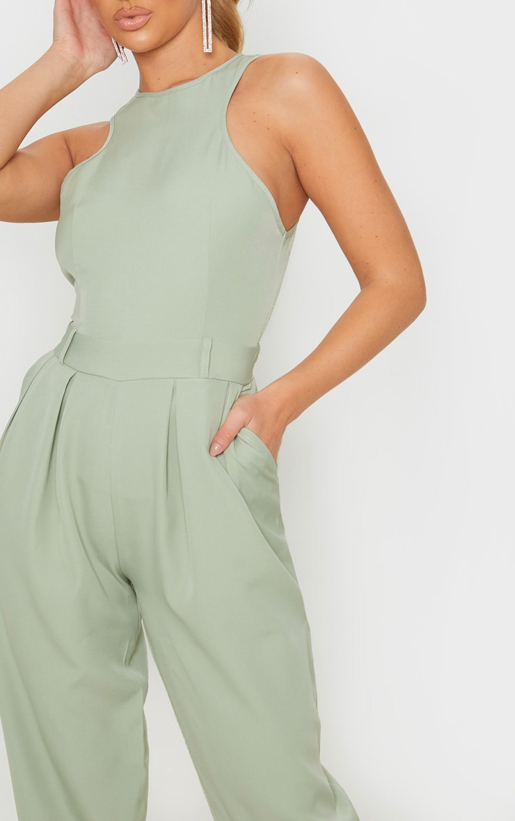 Sage Green Racer Back Pocket Detail Jumpsuit 5
