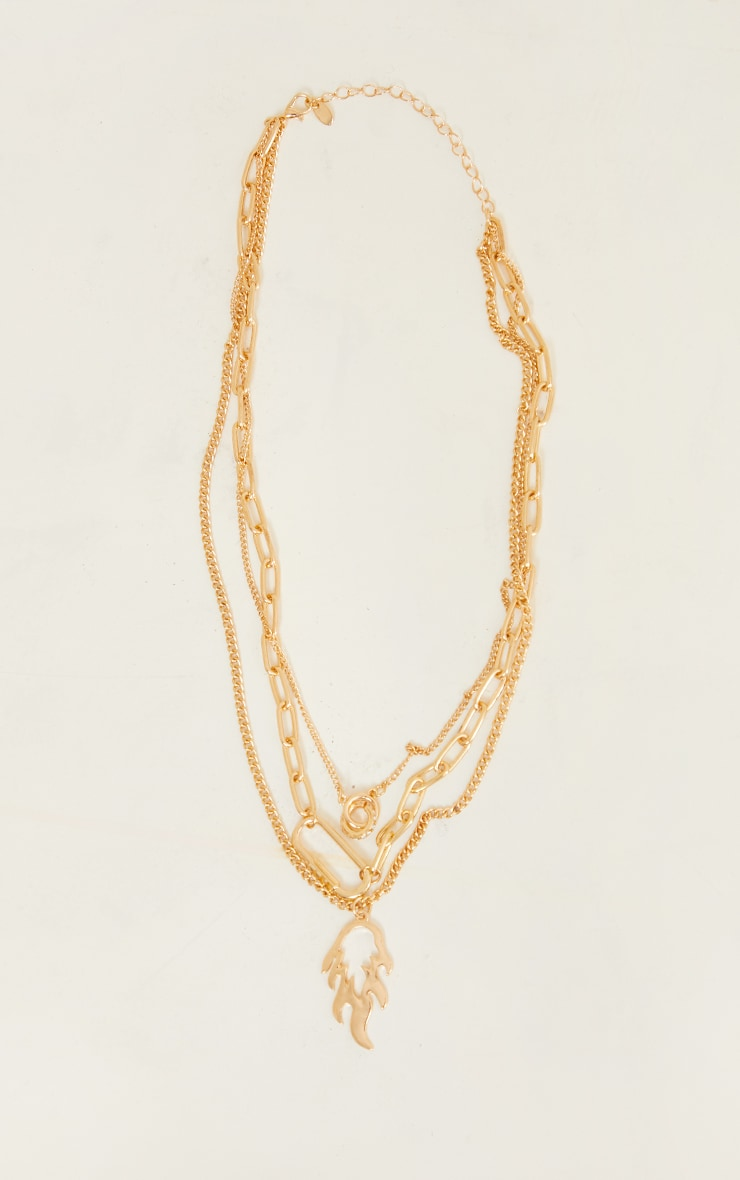 Gold Flame Assorted Chain Layering Necklace 4