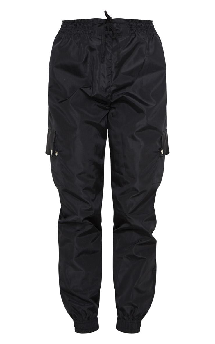Black Shell Pocket Detail Cargo Pants 5