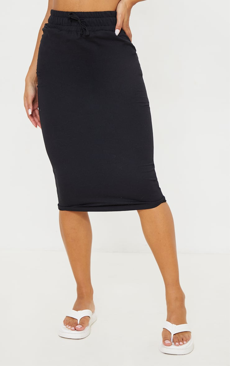 Black Ponte Deep Waistband Midi Skirt 2