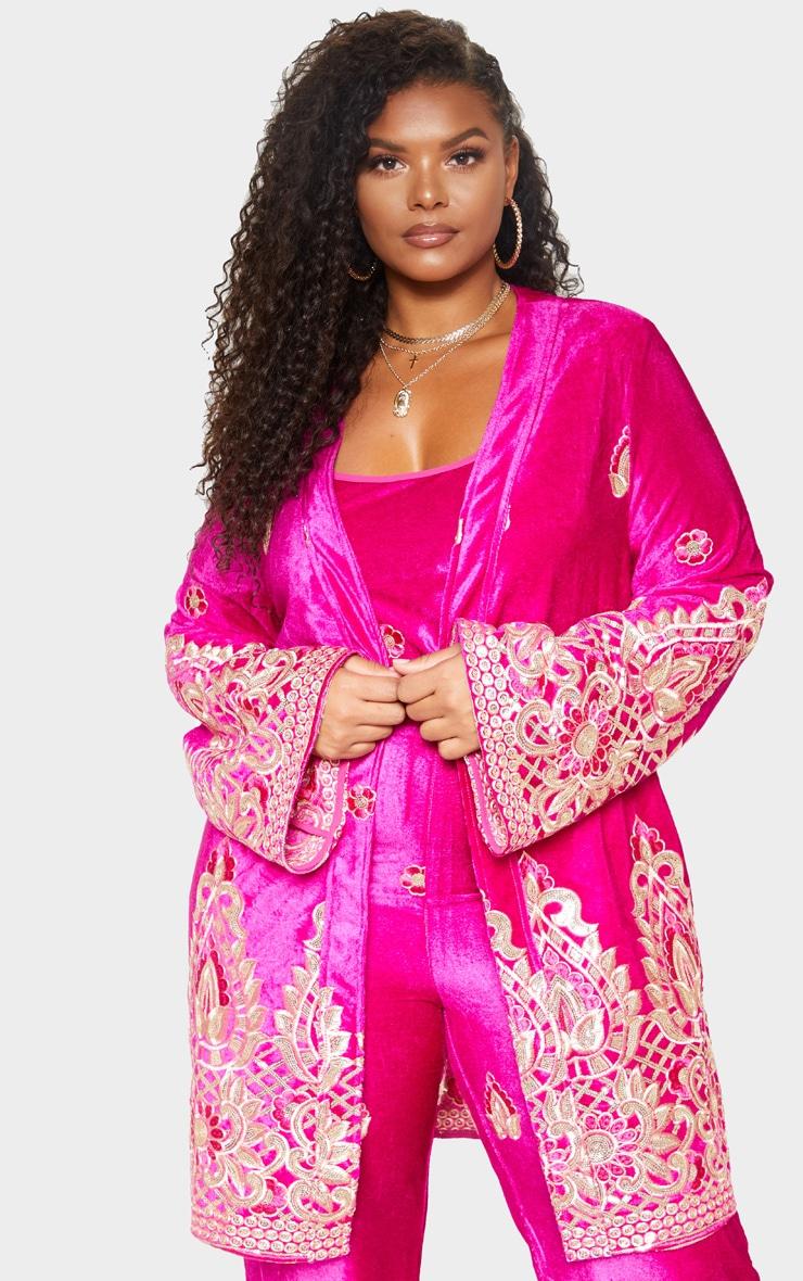 Plus Fuchsia Velvet Paisley Embroidered Kimono 1
