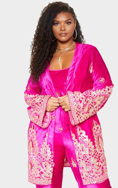 0a20ff84db5 Plus Fuchsia Velvet Paisley Embroidered Kimono PrettyLittleThing Sticker
