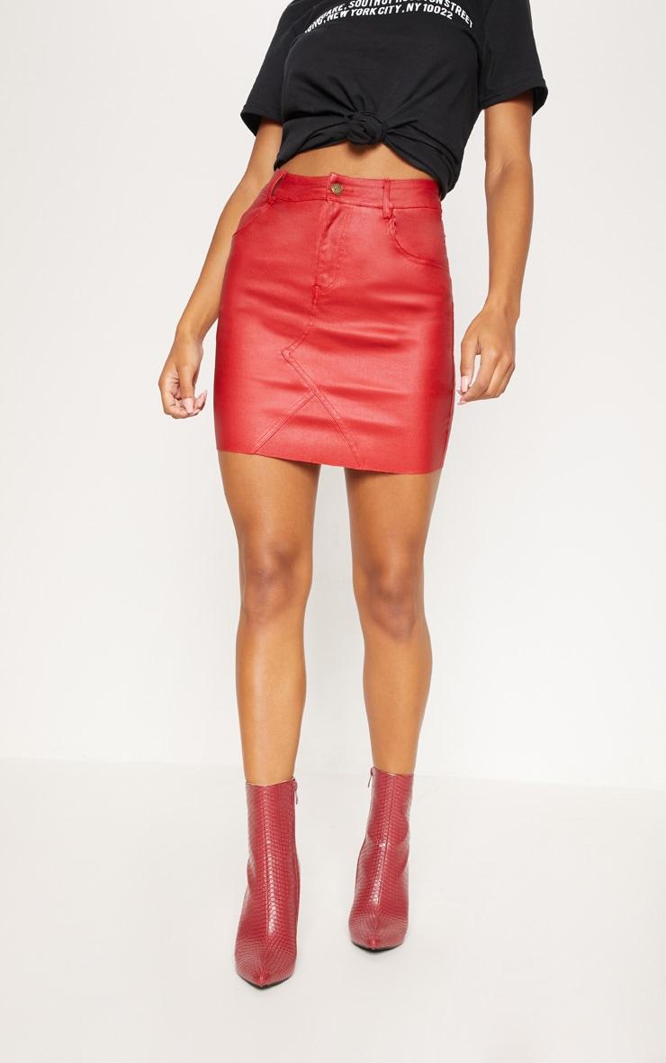 Red Coated Denim Mini Skirt 2