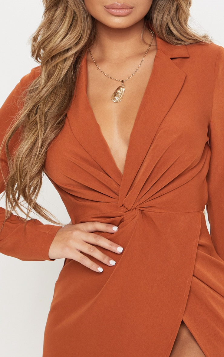 Rust Knot Detail Wrap Blazer Dress 4