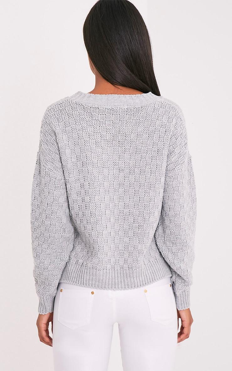 Chyanna pull gris tricoté torsadé 2