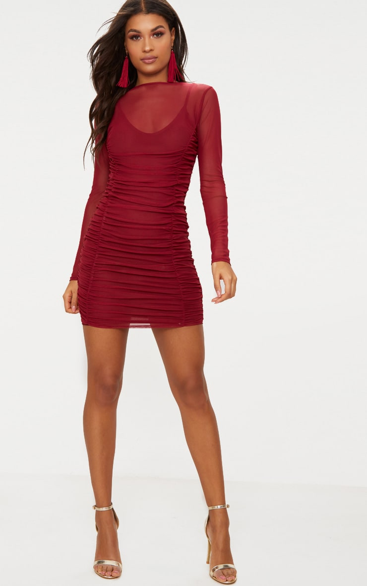 Wine Mesh Ruched Long Sleeve High Neck Bodycon Dress  4