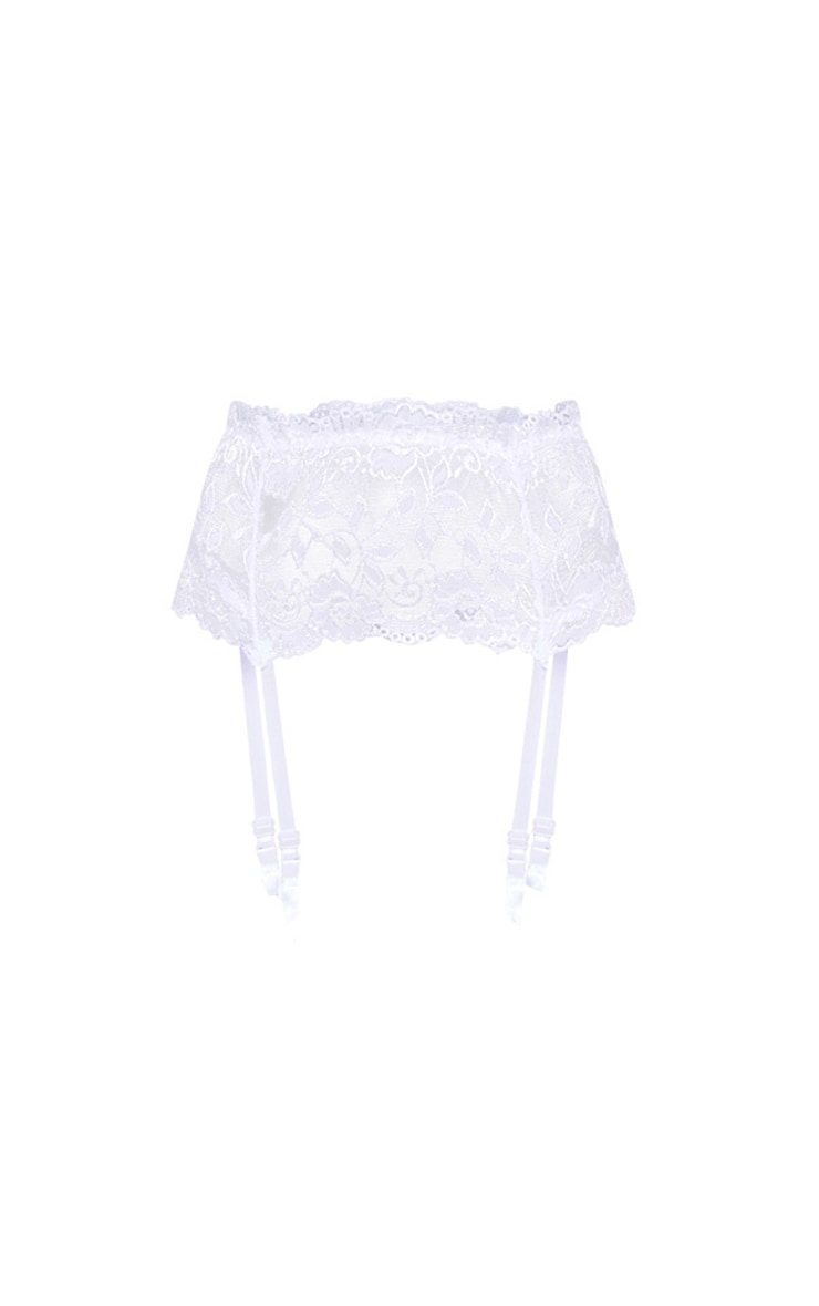 White Wide Lace Suspender 3