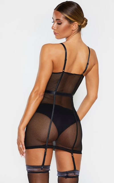 Black Fishnet Mesh Lingerie Slip Dress