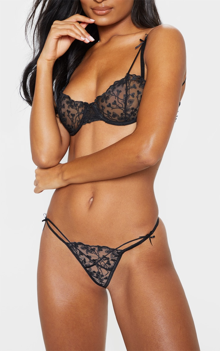 Black Delicate Heart Strappy Thong 1