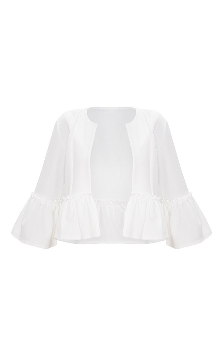 White Frill Sleeve Blazer 3
