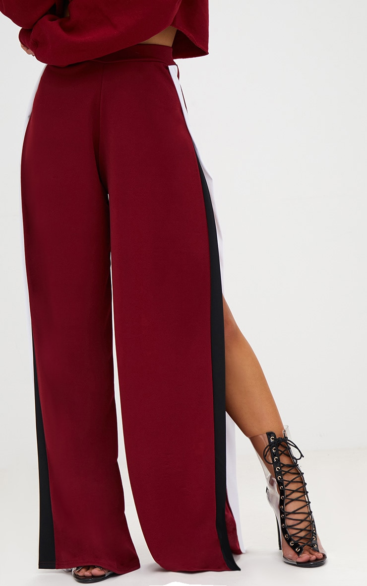 Petite Wine Extreme Split Flared Trousers 2