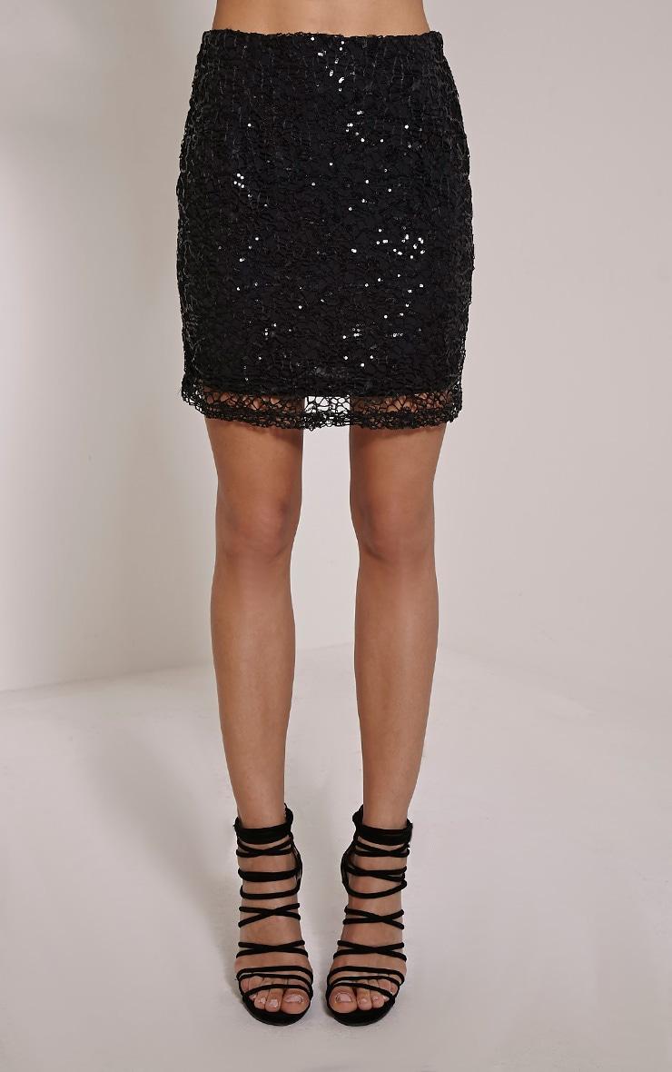 Lizzy Black Sequin Mini Skirt 2