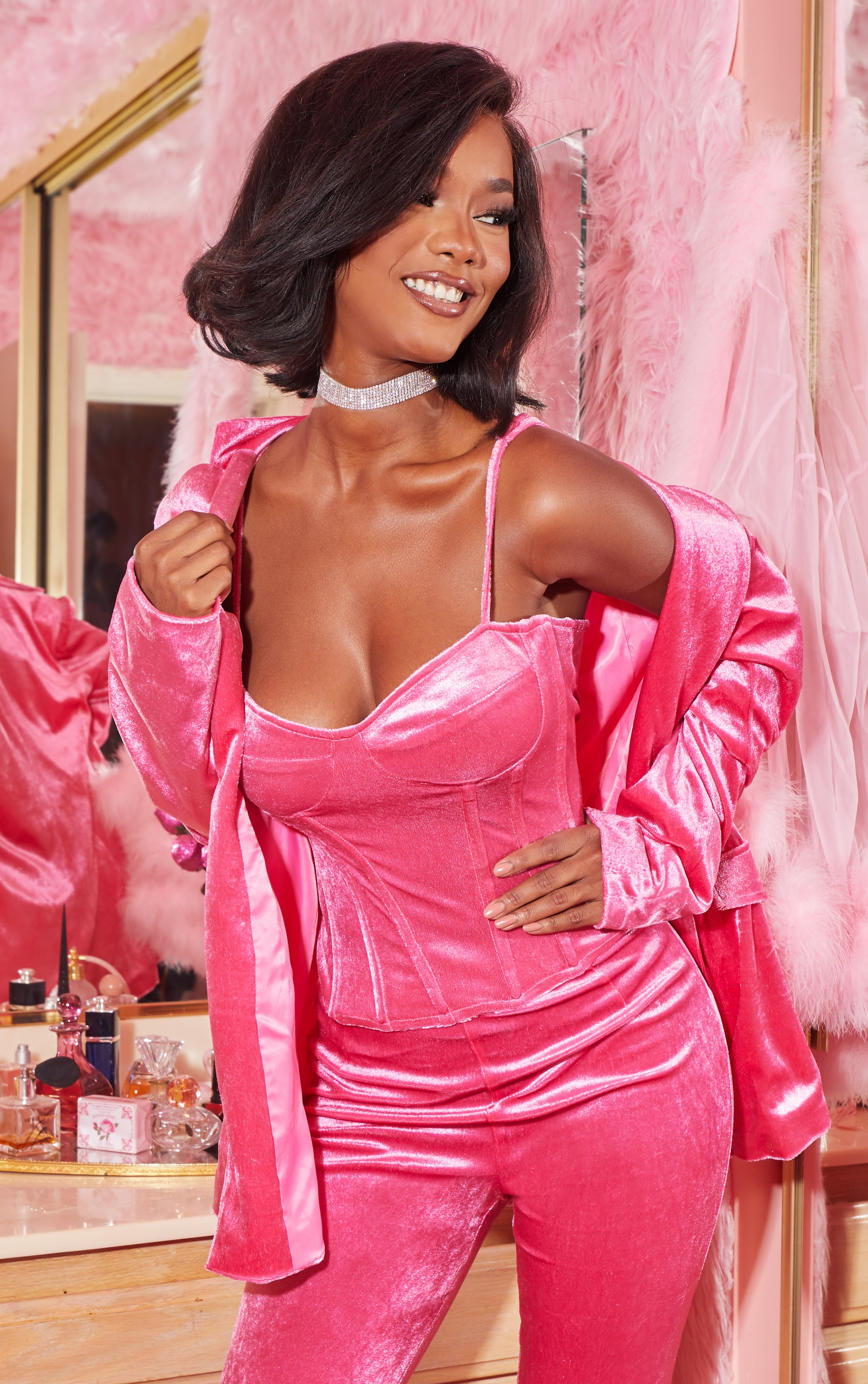 Hot Pink Velvet Structured Corset Top