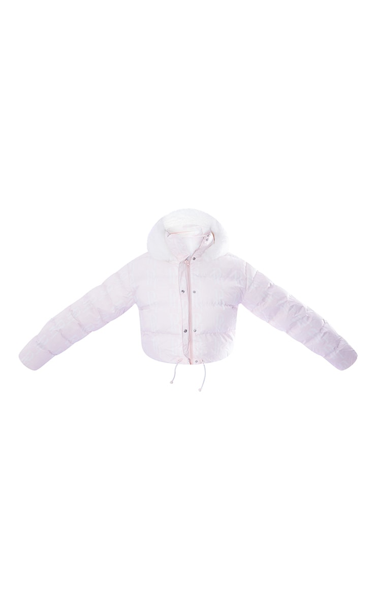 PRETTYLITTLETHING Plus Ski Pastel Pink Faux Fur Hooded Cropped Puffer Coat 5