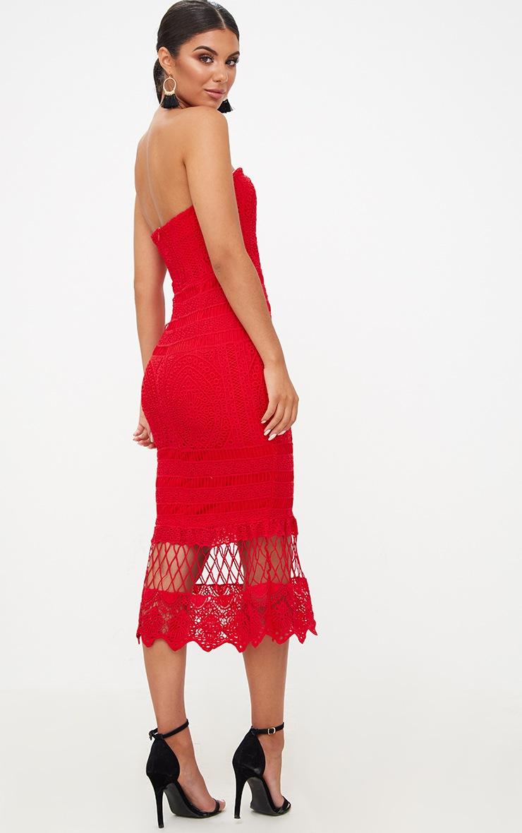 Red Lace Bandeau Longline Midi Dress Dresses
