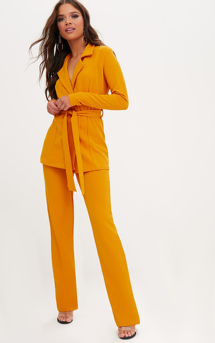 Mustard Straight Leg Suit Trousers 1