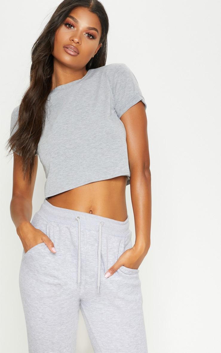 Basic Grey Roll Sleeve Crop T Shirt 2